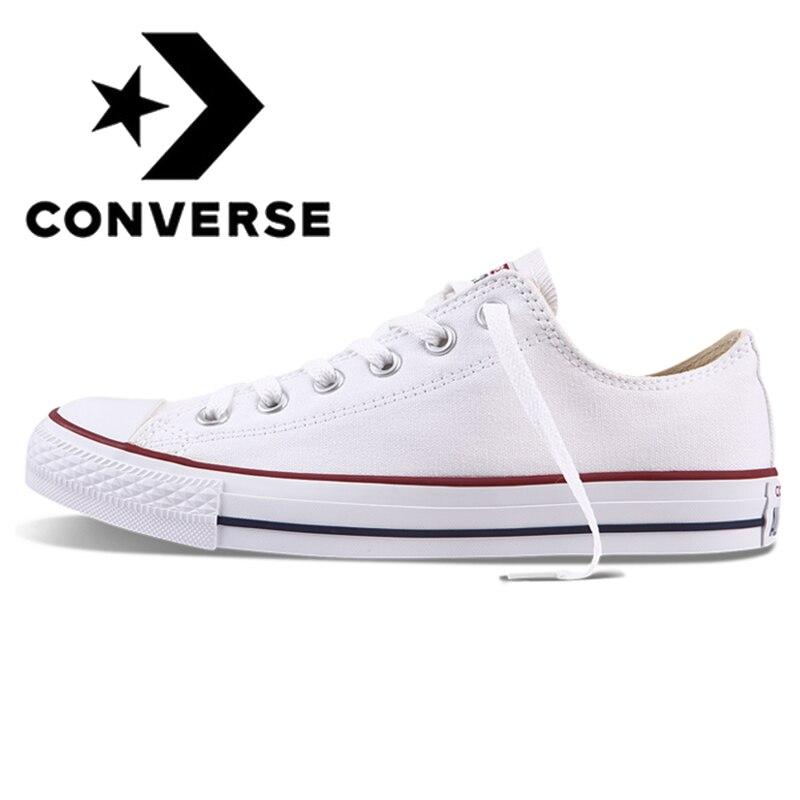Autêntico e Original Converse ALL STAR Classic Unissex Sapatos de Skate Baixo-Top Lace-up Calçado de Lona Durável Branco 101000