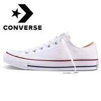Originale Autentico Converse ALL STAR Classic Unisex Scarpe da pattini e skate Low-Top di Pizzo-up di Tela Resistente Calzature Bianco 101000