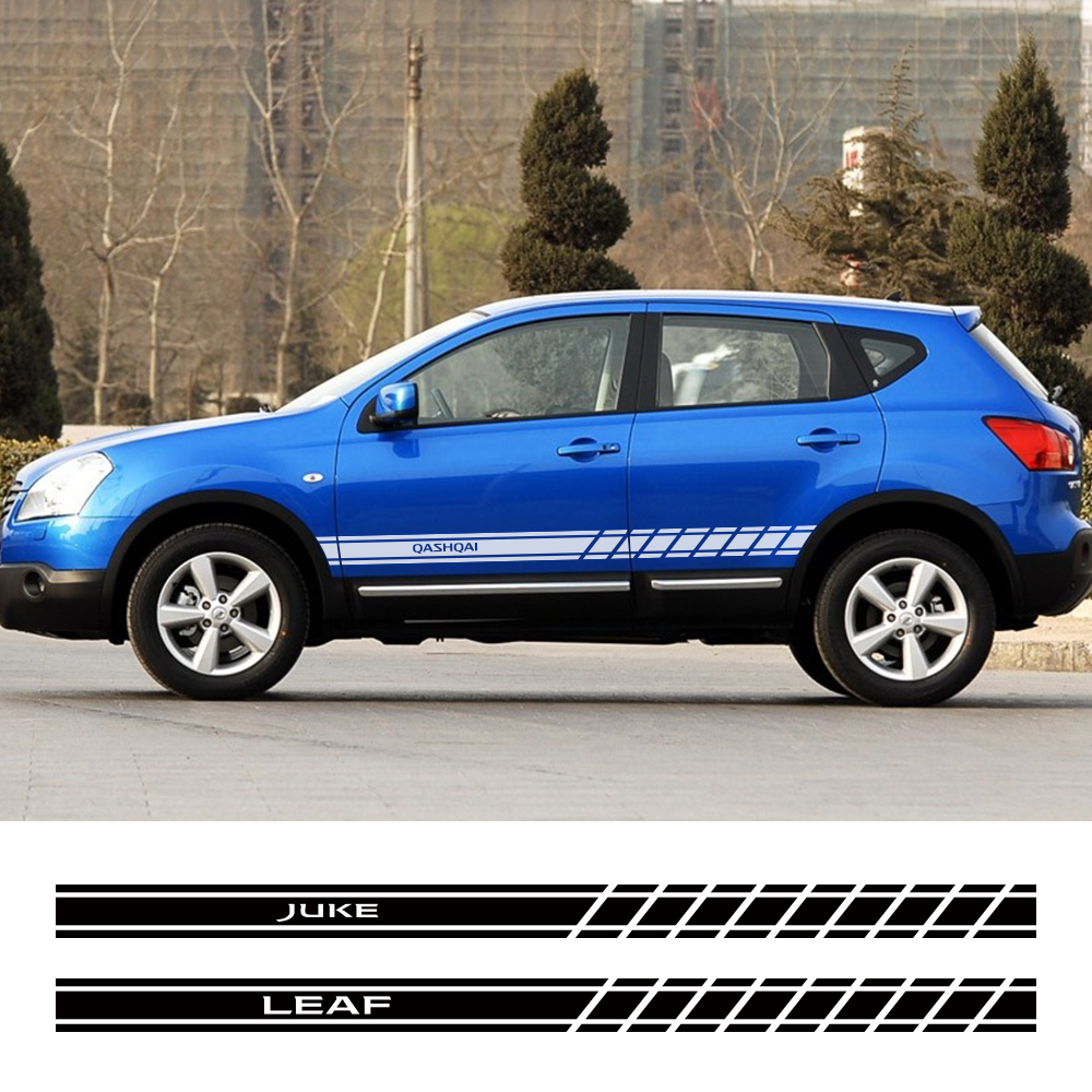 2PCS Car Door Side Sticker Decal For Nissan Qashqai Juke Leaf Micra Sentra Patrol Maxima Murano Tiida Pulsar Altima Rogue Sylphy