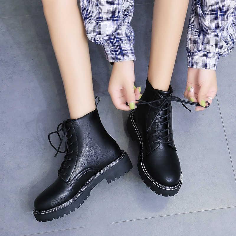 2019 yeni siyah savaş botları bayan deri Platform çizmeler serseri ayak bileği çizmeler kadın ayakkabıları Zip Lace Up Casual Dr Botas Mujer