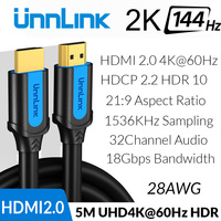 Unnlink HDMI Cable HDMI to HDMI 2.0 HDR HDCP2.2 UHD4K@60Hz 2K@144Hz 3m 5m 8m 10m for HDMI Splitter Switch PS4 TV Box Projector
