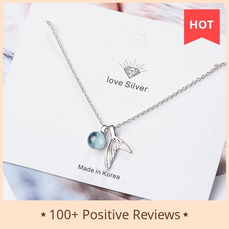 Collier avec pendentif sirène en argent Sterling 925 pour femmes, bijou en cristal bleu, à la mode, tendance, nouveauté 2020