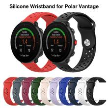 22MM Silicone Strap Replacement Wristband For Polar Vantage M Smart Watch Accessories Wrist Band Strap Reversal Buckle polar wrist strap a300 blk
