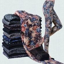 Printed Leggings Fleece Lined Winter Plus Velvet Thickening Legging Stretch Lady Pants Women Trouser Female Leggins