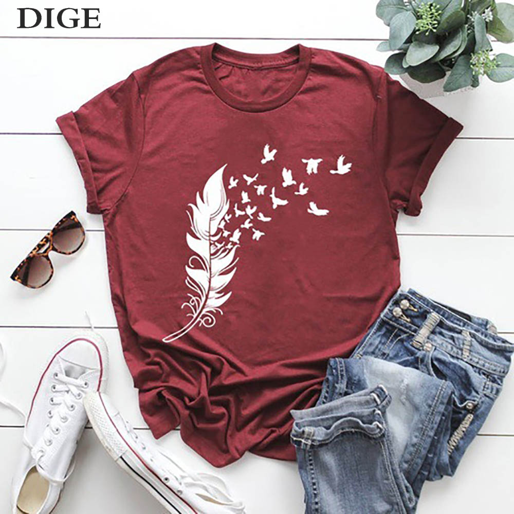 2020 New Arrived Leaves Printed Women T-shirt O Neck Short Sleeve Cotton Tshirt Casual Summer Female Girl Tee Top B0662