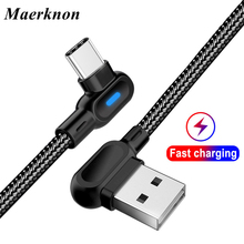 USB Type C 90 Degree Fast Charging usb c cable Type-c data Cord Charger usb-c for xiaomi