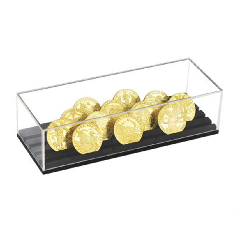 Coin Display Stand Rack Wooden Collector Coin Storage Shelves Coin Holder Case