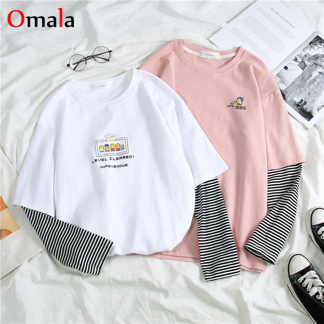 Korean letters stripe tops O-Neck All-match Students t-shirts 2