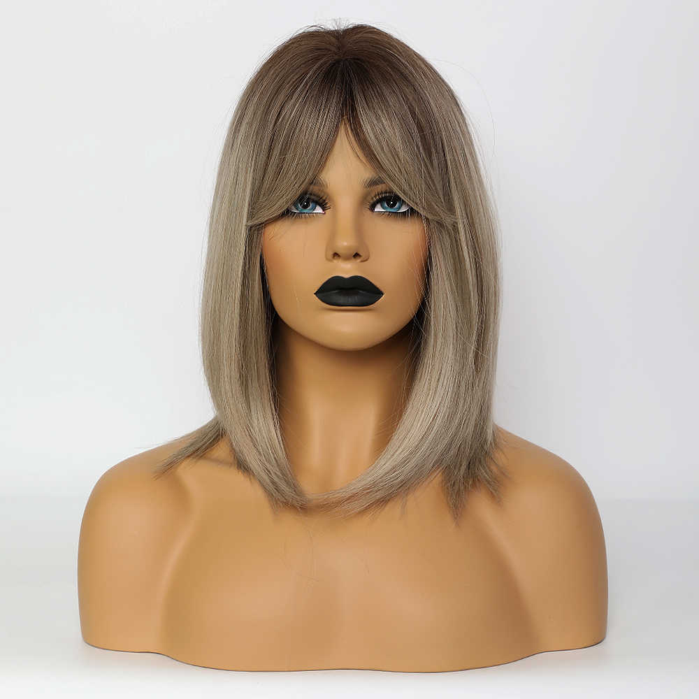 Blonde Eenhoorn Rechte Pruiken Voor Zwarte Vrouwen Donkere Wortel Ombre Blond Grijs Bruin Bobo Synthetische Pruiken Met Pony Lolita Cosplay pruik