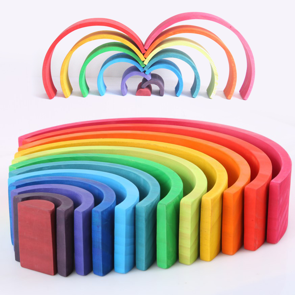 12 Pcs/Lot blocs arc-en-ciel bébé jouets en bois arc-en-ciel empileur nidification bloqueur créatif Montessori blocs de construction jouets éducatifs