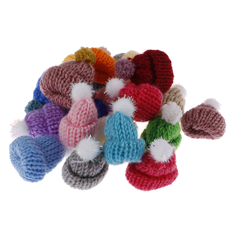 10 Pcs Mini DIY Handmade Small Knitting Hat For Dolls Decoration Phone Case Decoration 3.5CM