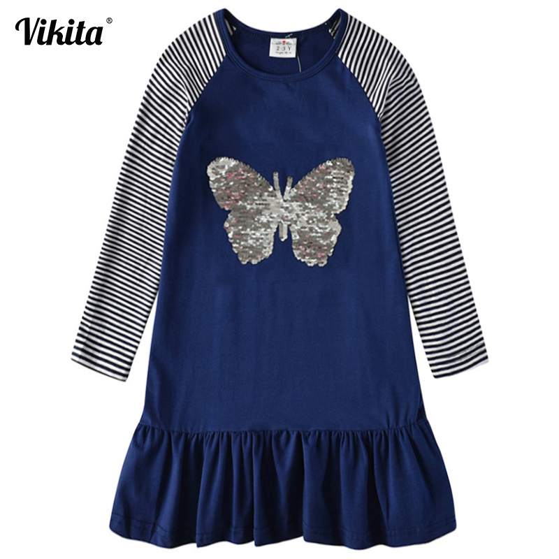 Baby Girl Dress Heart Butterfly Reversible Sequines Kids Party Dresses For Girls Clothes Autumn Winter Children Princess Dress