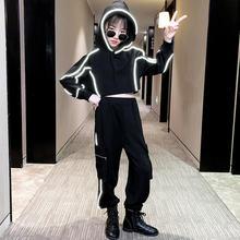 Conjunto de ropa para niñas adolescentes, Sudadera con capucha y pantalones de chándal, traje reflectante de dos piezas para otoño, 4, 5, 6, 7, 8, 9, 10, 11, 12, 13 años