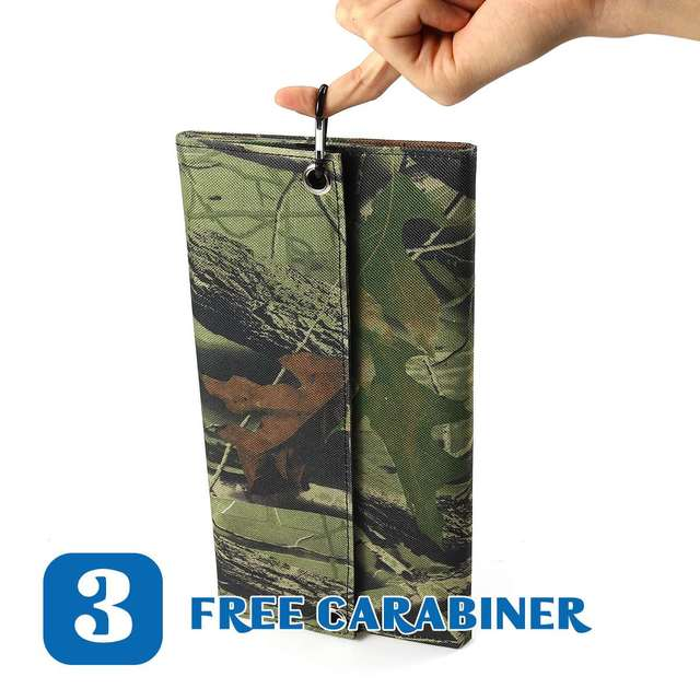 New Design LEORY 25W 5V Foldable Solar Panel Charger Solar Power Bank Dual USB Camouflage Backpack Camping Hiking 4