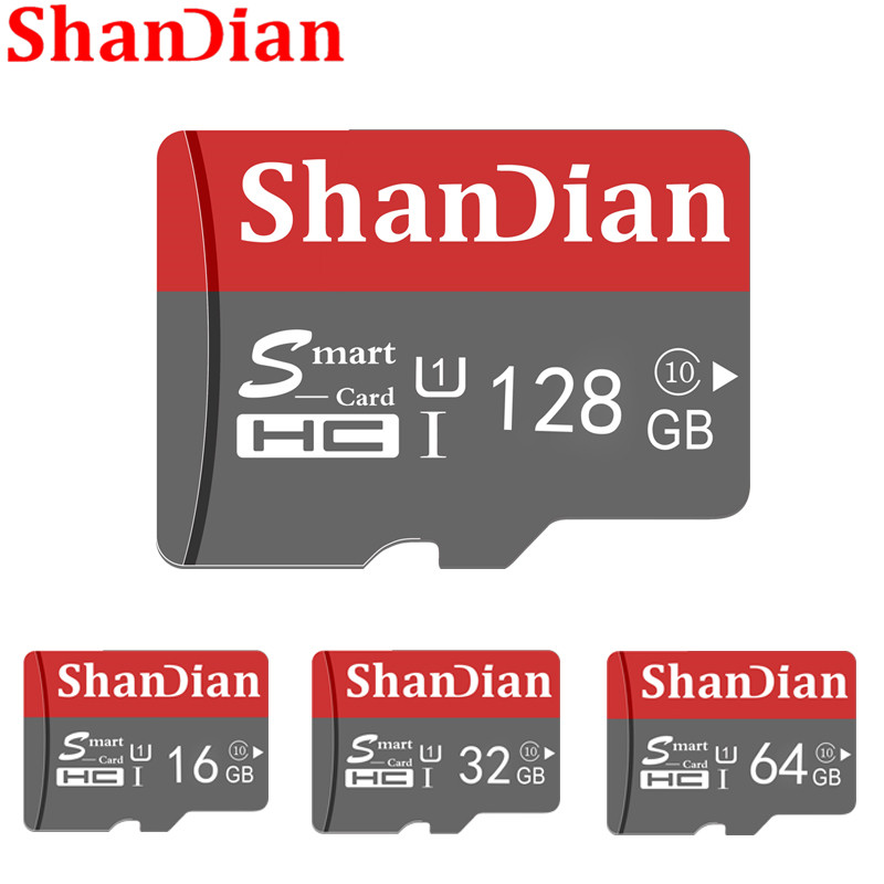 SHANDIAN Smast SD Card 32GB High Speed Class 10 16GB/64GB Real Capacity 128GB Mini SD Memory Card TF Card For Smartphone