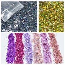 100g/Bag Holographic Nail Art Powder Mixed-Hexagon Holo Chun