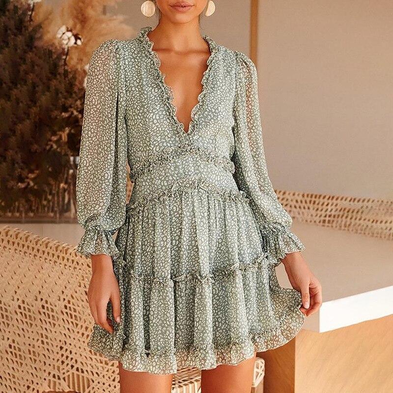 Eytino Women Sexy V Neck Long Sleeve Open Back Printed Mini Short Dresses 3