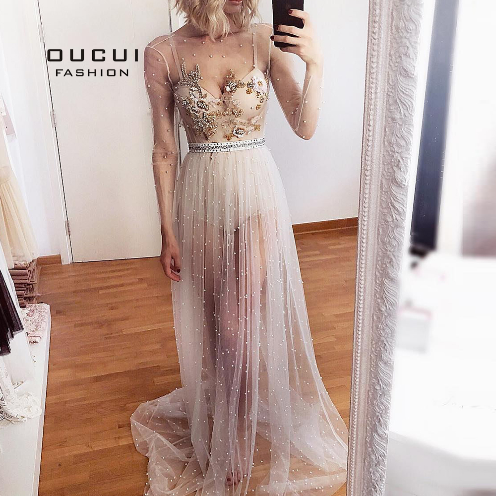 Women Long Sleeves Evening Party Dresses Long 2019 Robe De Soiree Appliques Pearls Perspective Sexy Prom Dresses OL103559