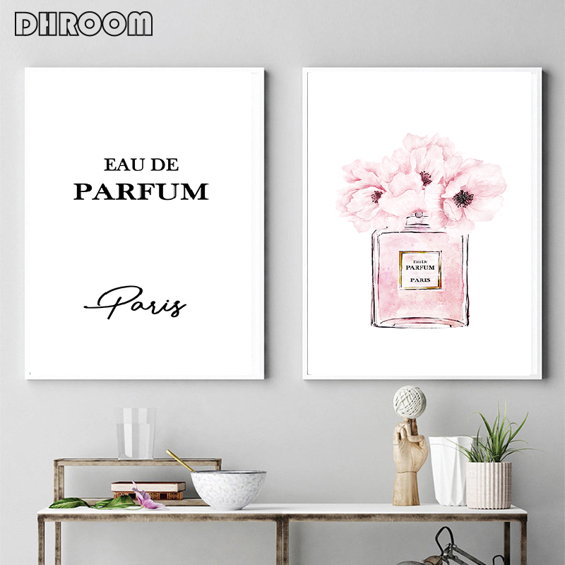 Fashion Prints Perfume Poster Wall Art Peonies Perfume Canvas Painting Nordic Blush Pink Wall Picture Bedroom Decoration Picture