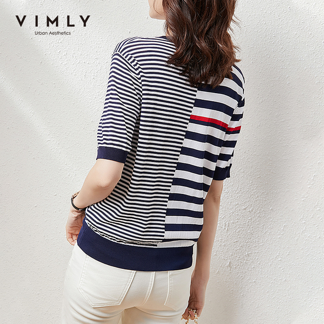 VIMLY Summer Knitted Tops For Women Fashion Round Neck Short Sleeve Pullover Casual Stripe Sweater Women Female Clothes F7397 3