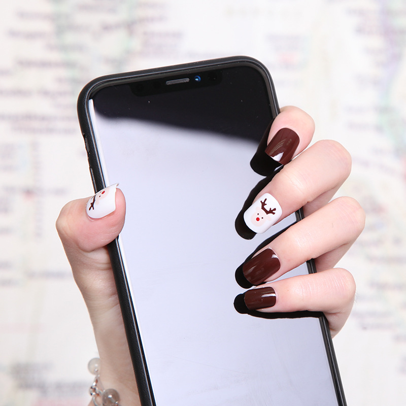 Coffee Elk Short Coffee Color Manicure Nail Stickers Nail Tips Fake Nails Patch Wholesale 194