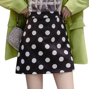 Short Skirts Clothing Feminino Polka-Dot Black A-Link Casual Women Ladies Girl White