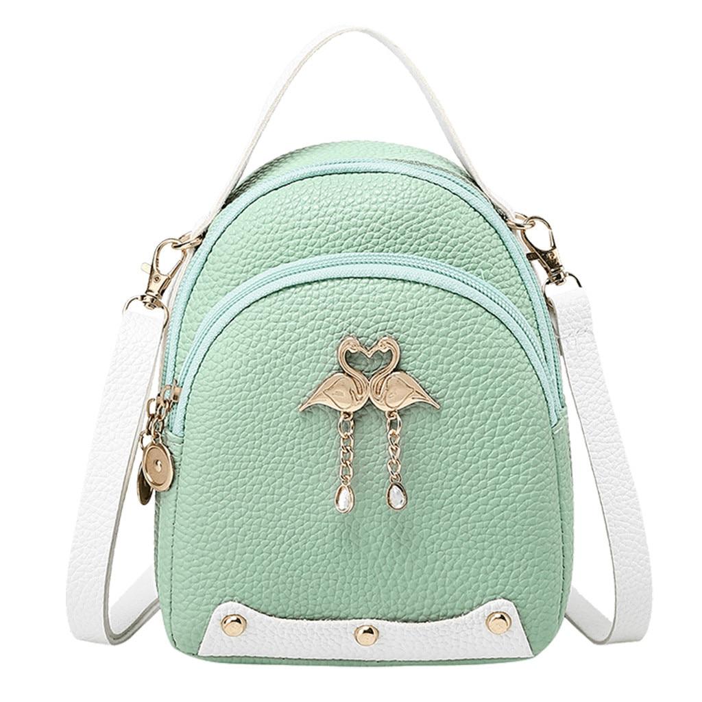 Fashion Women's Solid Color Leather Little Swan Backpack Shoulder Bag Mini Backpacks For Girls Small Backpack Women