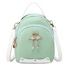 Fashion Women's Solid Color Leather Little Swan Backpack Shoulder Bag Mini Backpacks For Girls Small Backpack Women(China)
