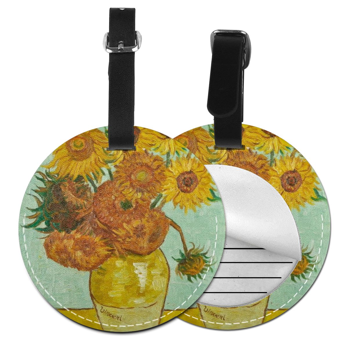 Vincent Van Gogh Oil Painting Twelve Sunflowers In A Vase Round Luggage Tag Customizd Travel Accessories Luggage Tags Travel Han