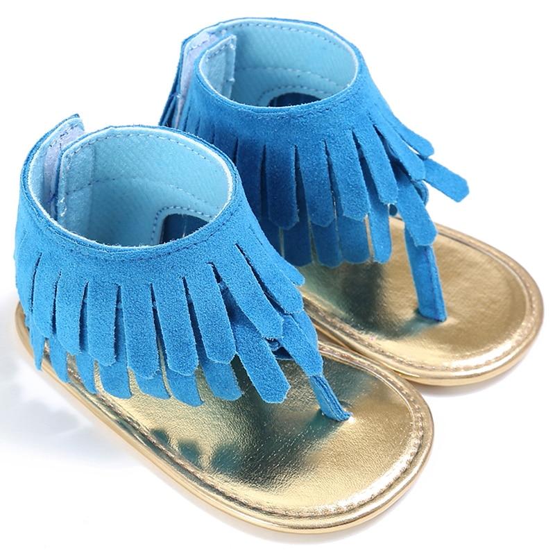Летняя детская обувь с кисточками на мягкой подошве для девочек; нескользящая обувь для новорожденных; обувь для маленьких девочек на