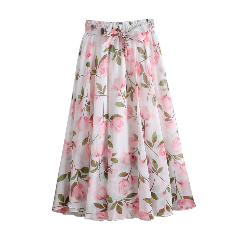 Women Chiffon Vintage Elegant Boho Midi Skirt With Belt Summer 2020 High Waist Pleated Skirts Womens Lady Print Skirts Female