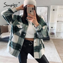 Tweed Coat Blouse Pockets Simplee Streetwear Long-Sleeve Plaid Female Women Buttons Casual