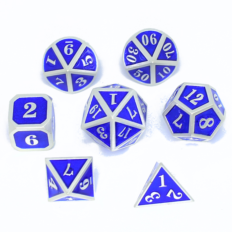 Metal Dice Set Dnd Rpg Polyhedral Solid Dungeons And Dragons Table Games Zinc Alloy Digital D&d Dices 7pcs Sets Boardgame Bag