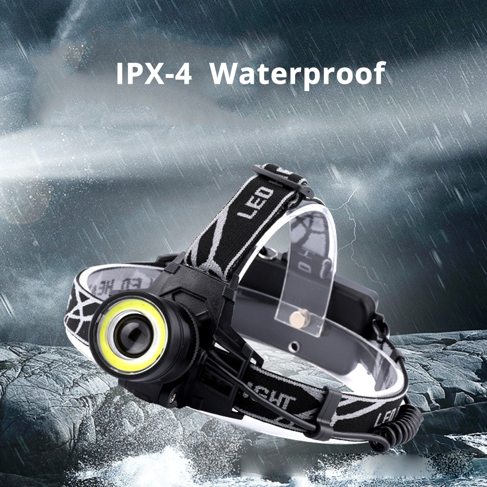 Купить с кэшбэком Super bright LED headlamp 4 light mode T6 + COB headlight waterproof rotating zoom fishing camping headlight use 2*18650 battery