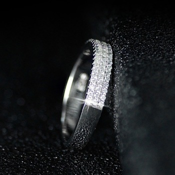 Hollywood Triple Promise ring 925 Sterling silver Pave AAAA cz Wedding Band Rings for women Bridal Statement Party Jewelry 4