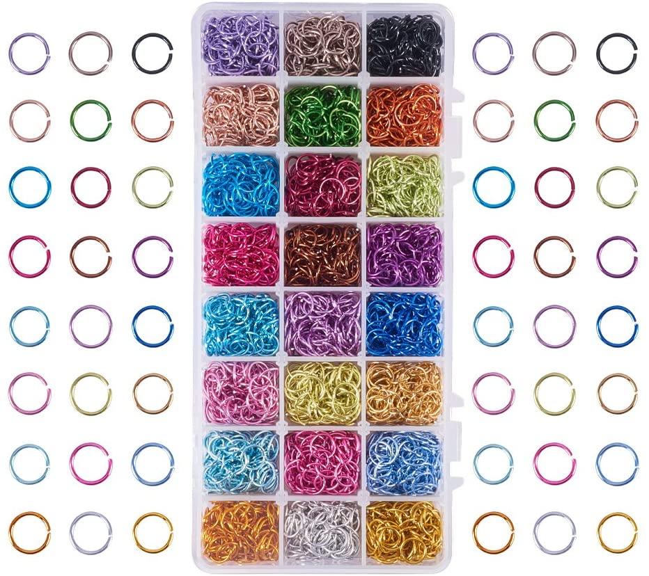 Anneaux de saut ouverts en aluminium, 24 couleurs, 10mm, 2400 pièces, pour bricolage, colliers ras du cou, Bracelet, chaîne, Maille, fabrication de bijoux