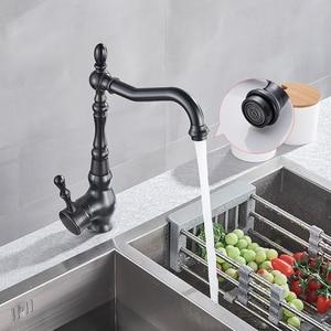 Image 3 - ULGKSD Black Bronze Kitchen Faucets Cold Hot Kitchen Mixer Tap Single Handle Mixer Tap 360 Rotation Kitchen Water Crane Tap