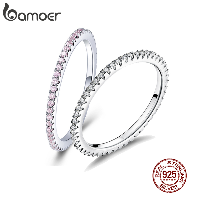 BAMOER 2 Color Clear CZ Engeagement Finger Rings For Women Wedding Minimalist Simple 925 Sterling Silver Accessories GXR066