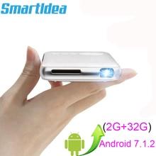 SmartIdea אנדרואיד 7.1.2 5000mAh סוללה כף יד מיני LED מקרן WiFi Bluetooth DLP 1080P Beamer תמיכת AirPlay Miracast AC3
