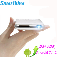 SmartIdea Android 7.1.2 5000mAh pil el Mini LED projektör WiFi Bluetooth DLP 1080P Beamer desteği AirPlay Miracast AC3