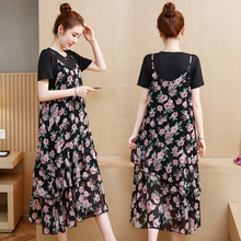 Spring and summer new style Large size XL-5XL womens dress T-shirt + chiffon floral two-piece suit