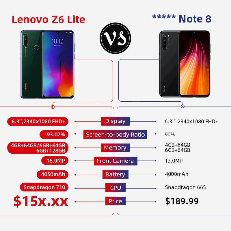 グローバル Rom レノボ Z6 Lite 6 ギガバイト 64 バイトの Snapdragon 710 オクタコアスマートフォントリプルバックカム 19.5: 9 水滴 6.3 インチ 4050 mah の