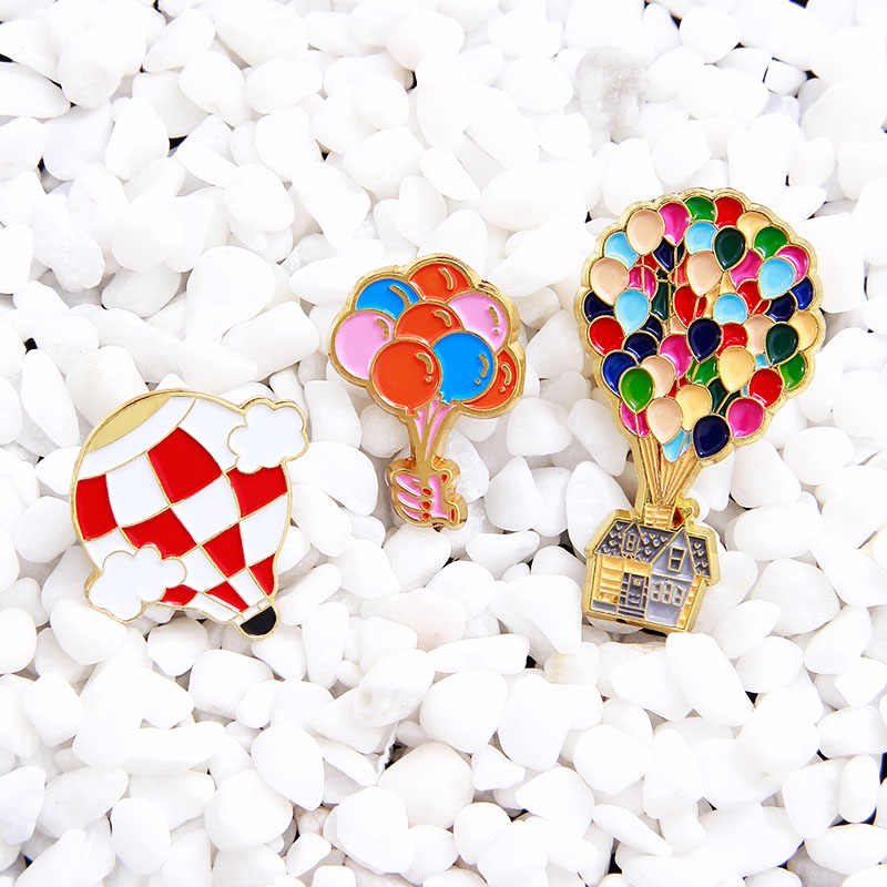 Colourful Balloon Pins Cartoon Movie Up Enamel Pin Hot Air Balloon Brooch Badges Lapel Pins Jewelry