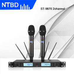 NTBD Hip Hop Home KTV School Party Stage Performance Sing ST-9870 Professional True Diversity Dual Wireless Microphone
