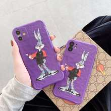 Cartoon Cool bugs bunny rabbit sneaker Purple Phone Case for iPhone 11 Pro MAX X XR XS for iphone 7 8 Plus Soft back cover(China)
