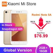 Глобальная версия, Xiaomi Redmi Note 5A, 2 Гб ОЗУ, 16 Гб ПЗУ, мобильный телефон Snapdragon 425, камера 5,5 МП, аккумулятор 3080 дюйма, мАч