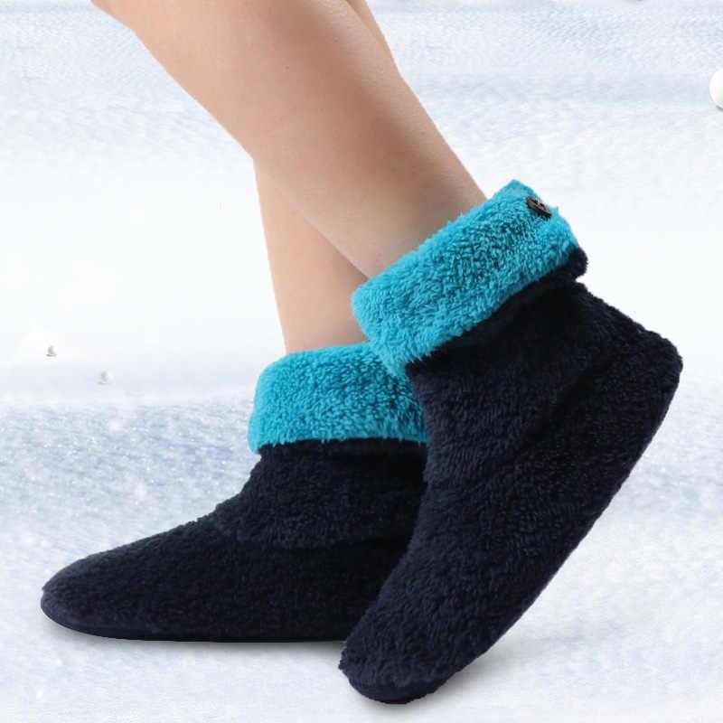Yarım çizmeler kadınlar için sıcak kapalı botlar kış kürk ev ayakkabı kadın kapalı daireler Botines Mujer peluş mercan polar kat ayakkabı