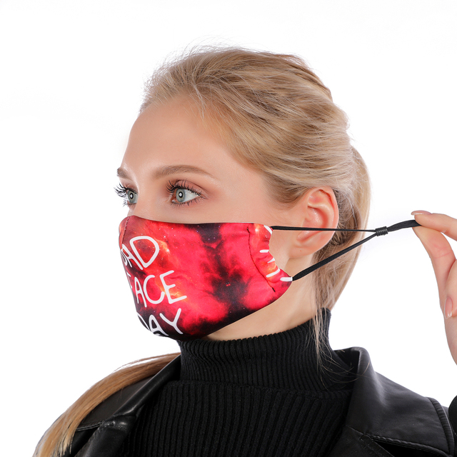 Fashion Printing Reusable Protective PM2.5 Filter mouth Mask anti dust Face mask Windproof Mouth-muffle bacteria proof Flu Mask 2