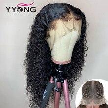 Perruque Lace wig brésilienne Remy ondulée – YYong, cheveux naturels, 1x6 T, partie Lace wig, Transparent, longue, 32 pouces, 120%