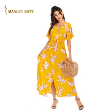 Floral Print Dress Women Simple Design Spring New Style Summer Maxi Dress Ladies Fashion Short Sleeve Ankle Length Skirt